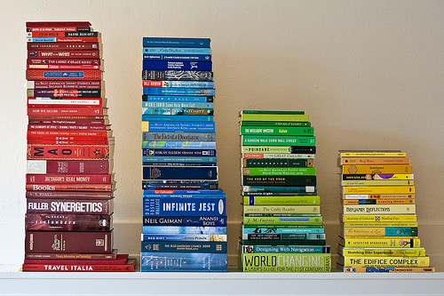 Four stacks of brightly colored books. You, too, can be an author!
