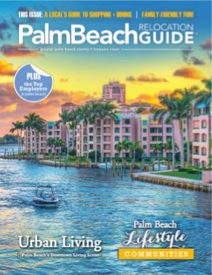 The beauty of outdoor Palm Beach along the Intracoastal Waterway is on the cover of the Palm Beach Relocation Guide.