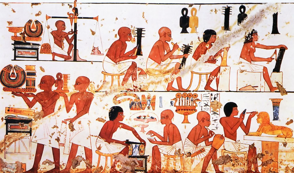 Ancient Egyptian Goldsmiths at work, a painting from the Tomb of Nebamun and Ipuky